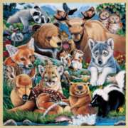 Forest Friends with Fun Facts - 48pc Wooden Tray Puzzle by Masterpieces