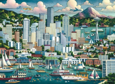 Seattle, WA - 1000pc Suitcase Jigsaw Puzzle by Masterpieces