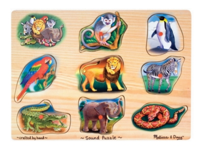 Zoo - 9pc Wooden Sound Puzzle By Melissa & Doug