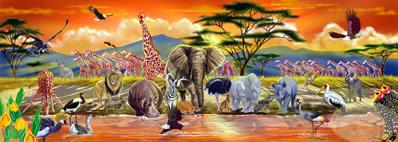 Safari - 100pc Panoramic Floor Puzzle By Melissa & Doug