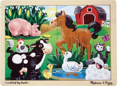 On the Farm - 12pc Wooden Jigsaw Puzzle By Melissa & Doug