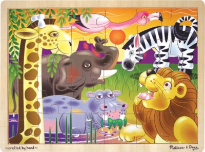 African Plains - 24pc Wooden Jigsaw Puzzle For Kids By Melissa & Doug