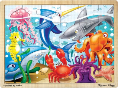 Melissa and Doug Wooden Jigsaw Puzzles for Kids - Under the Sea