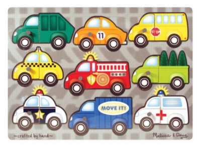 Vehicles Mix 'n Match - 9pc Wooden Peg Puzzle By Melissa & Doug