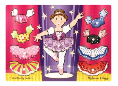 Ballerina Dress-up Mix 'n Match - 10pc Wooden Peg Puzzle By Melissa & Doug