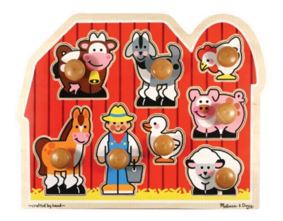 Large Farm - 8pc Jumbo Knob Puzzle By Melissa & Doug