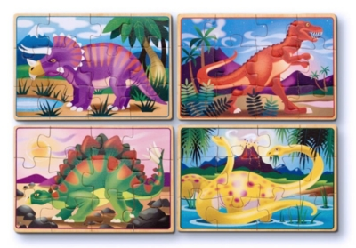Dinosaurs - 4 x 12pc Puzzles in a Box By Melissa and Doug