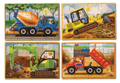 Construction - 4 x 12pc Puzzles in a Box By Melissa and Doug
