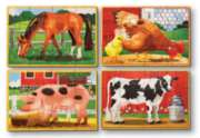 Farm Animals - 4 x 12pc Wooden Jigsaw Puzzles in a Box By Melissa and Doug