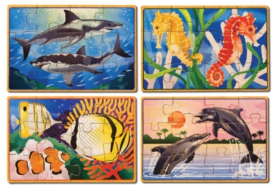 Sea Life - 4 x 12pc Wooden Jigsaw Puzzles in a Box By Melissa and Doug