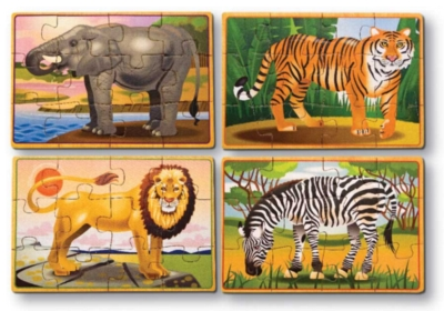 Wild Animals - 4 x 12pc Wooden Jigsaw Puzzles in a Box By Melissa and Doug