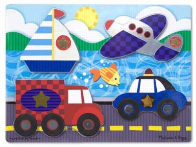 Vehicles - 4pc Chunky Wooden Puzzle By Melissa & Doug