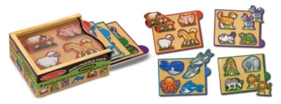 Animals - 4 x 4pc Wooden Puzzles By Melissa & Doug