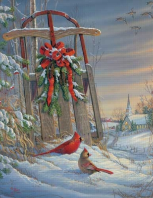 Winter Red Birds - 500pc Jigsaw Puzzle by Springbok