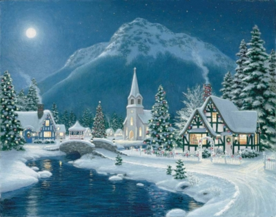 Moonlit Village - 1500pc Springbok Jigsaw Puzzle