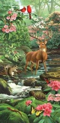 A Deer in the Woods - 1000pc Panoramic Jigsaw Puzzle by Sunsout