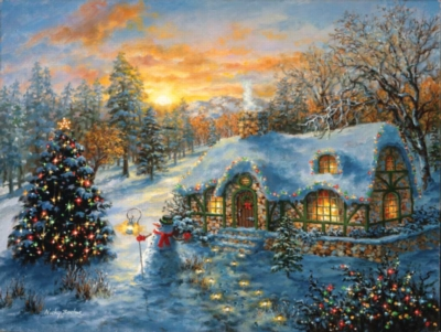 Christmas Cottage - 500pc Jigsaw Puzzle by Sunsout