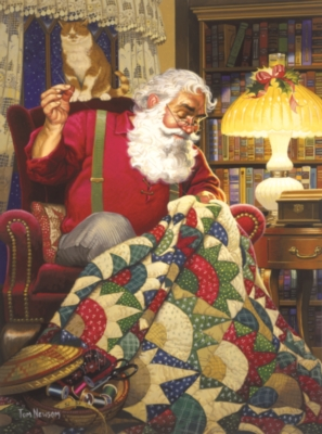 Quilting Santa - 1000pc Jigsaw Puzzle by Sunsout