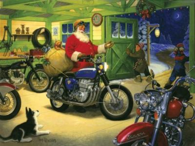 Jigsaw Puzzles - Motorcycle Santa