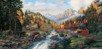 Autumn Run - 1000pc Panoramic Jigsaw Puzzle by Sunsout