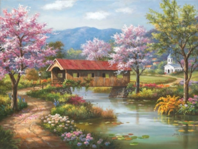 Covered Bridge in Spring - 300pc Large Format Jigsaw Puzzle by Sunsout