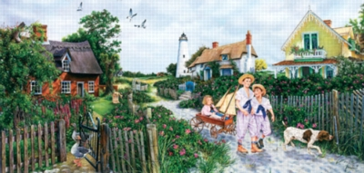 Rose Cottage Lane - 1000pc Panoramic Jigsaw Puzzle by Sunsout