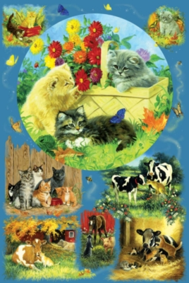 Country Kittens - 625pc Family Style Jigsaw Puzzle by Sunsout