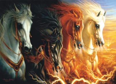 4 Horses Of The Apocalypse - 1500pc Sunsout Horse Jigsaw Puzzle