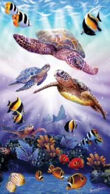 Turtle Play - 500pc Vertical Panoramic Jigsaw Puzzle by Sunsout