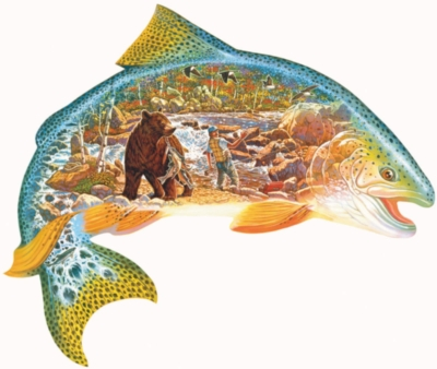 Trout Story - 1000pc Shaped Jigsaw Puzzle by Sunsout