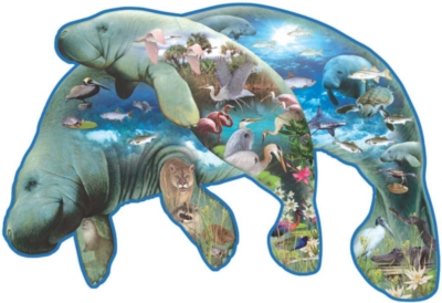 Manatees - 1000pc Shaped Jigsaw Puzzle by Sunsout