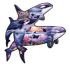 Orcas at Play - 1000pc Shaped Jigsaw Puzzle by Sunsout