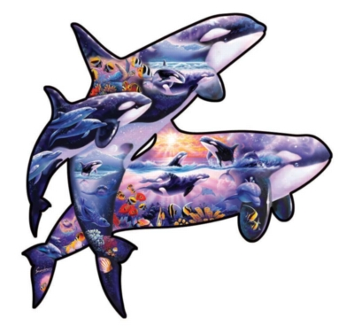 Shaped Jigsaw Puzzle - Orcas at Play