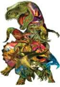 T Rex Attack - 1000pc Shaped Jigsaw Puzzle For Kids by Sunsout
