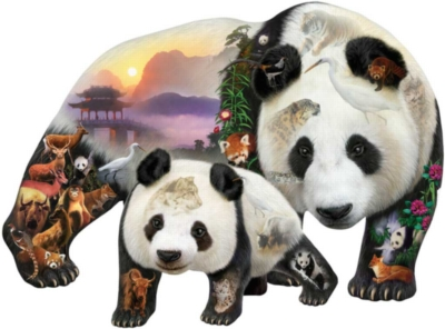Panda Playground - 1000pc Shaped Jigsaw Puzzle by Sunsout