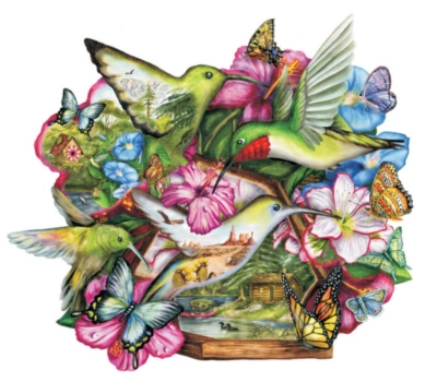 Flutter By - 600pc Shaped Jigsaw Puzzle by Sunsout