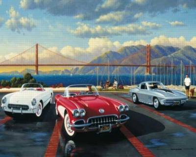 Golden Gate Classics Corvettes - 1000pc Jigsaw Puzzle by White Mountain