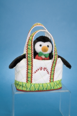 White Tote with Holiday Penguin - 6&quot; Tote By Douglas Cuddle Toys