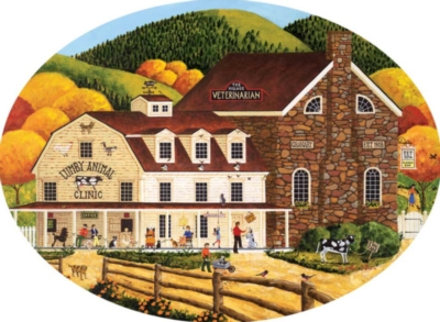 The Village Veterinarian - 750pc Oval Jigsaw Puzzle by Buffalo Games