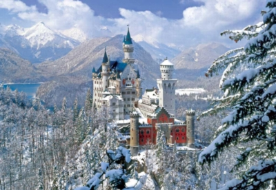 Winter at Neuschwanstein Castle - 2000pc Jigsaw Puzzle by Buffalo Games