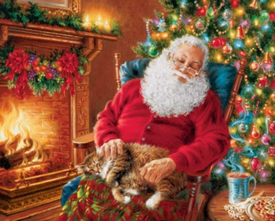 Springbok Jigsaw Puzzles - Santa's Cat Nap