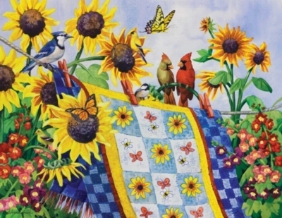 Meeting at the Clothesline - 1000+pc Large Format Jigsaw Puzzle by Sunsout