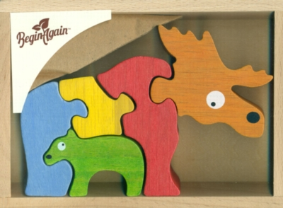 Moose & Calf - 5pc Eco-Friendly Wooden Jigsaw Puzzle by BeginAgain Toys