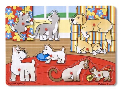 Pets - 8pc Wooden Peg Puzzle For Kids By Melissa & Doug