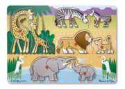 Safari -  8pc Wooden Peg Puzzle By Melissa & Doug