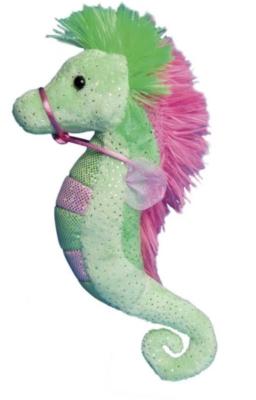 "Lime and Pink - 9"" Seahorse By Douglas Cuddle Toys"