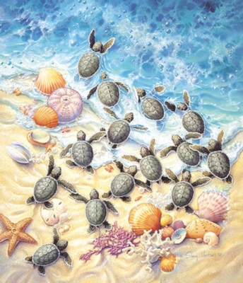Green Turtle Hatchlings - 550pc Jigsaw Puzzle By Sunsout