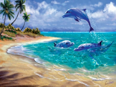 Bahama Dolphins - 1000pc Jigsaw Puzzle By Sunsout