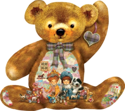 Quilted Teddy - 1000pc Shaped Jigsaw Puzzle By Sunsout