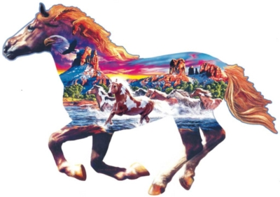 Sedona Gallop - 800pc Shaped Horse Jigsaw Puzzle By Sunsout